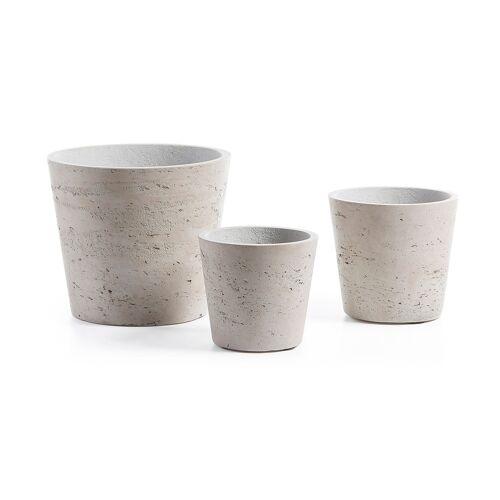 Kave Home - Low Töpfe, 3er-Set, grau