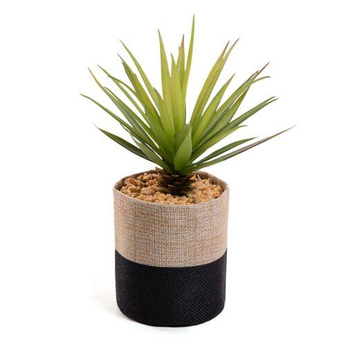 Kave Home - Künstliche kleine Palme im Topf aus Raphiabast