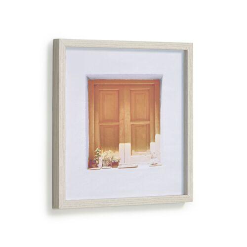 Kave Home - Leyla Bild von Haus mit braunem Fenster 40 x 40 cm