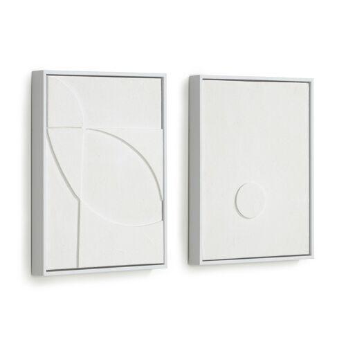 Kave Home - Brunella Set aus zwei weißen Bildern 32 x 42 cm