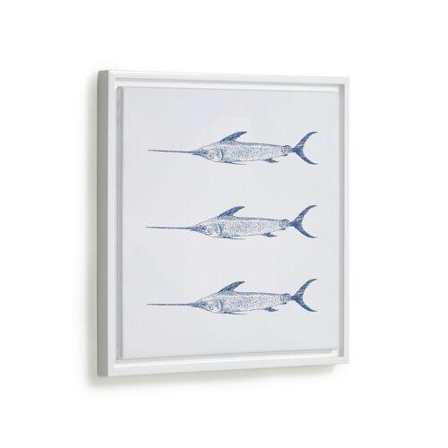Kave Home - Lavinia Bild mit 3 blauen Schwertfischen 30 x 40 cm