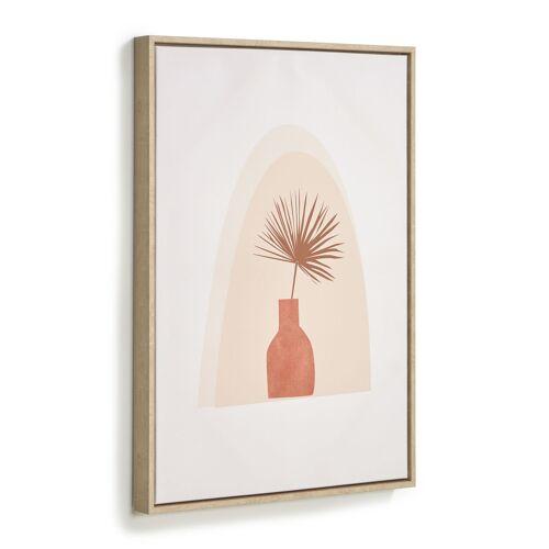 Kave Home - Izem Bild von brauner Vase und Blume 50 x 70 cm