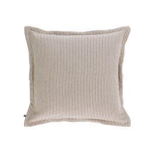 Kave Home - Aleria Kissenbezug aus Baumwolle mit braunen und weißen Streifen 45 x 45 cm