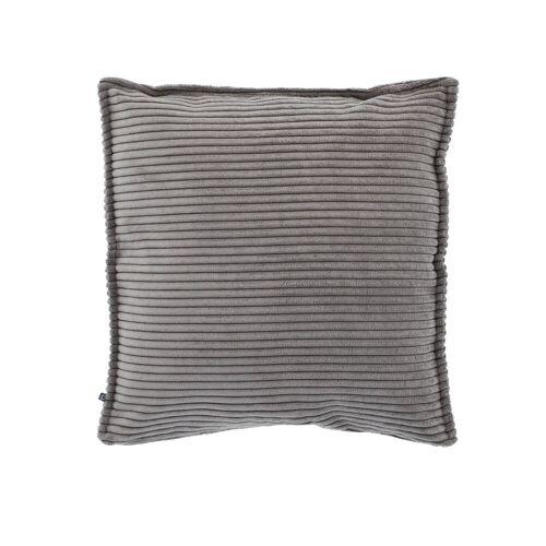 Kave Home - Wilma Kissenbezug 45 x 45 cm, grauer Kord