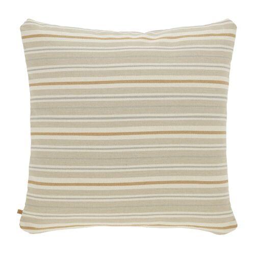 Kave Home - Sydelle braun gestreift Kissenbezug 60 x 60 cm