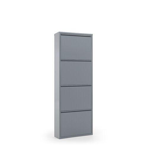 Kave Home - Ode Schuhregal 50 x 136 cm, 4-türig, graues Metall