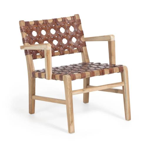 Kave Home - Nuru Sessel aus massivem Teakholz und Leder