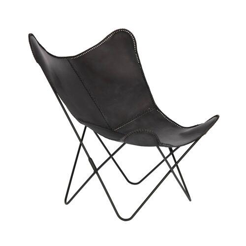 Kave Home - Fly Sessel, schwarzes Leder