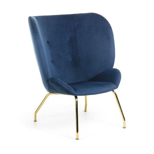 Kave Home - Violet Sessel, blauer Samt