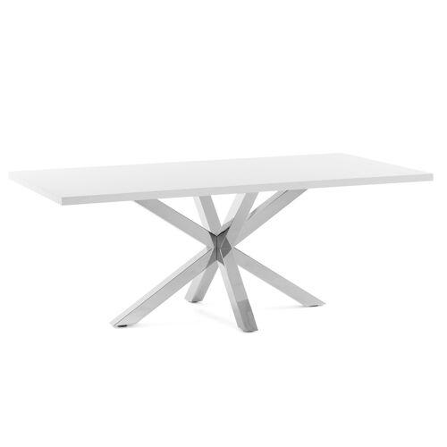 Kave Home - Argo Tisch 180 x 100 cm mit Melamin weiß und Edelstahlbeinen