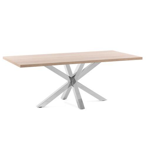 Kave Home - Argo Tisch 180 x 100 cm mit Melamin natur und Edelstahlbeinen