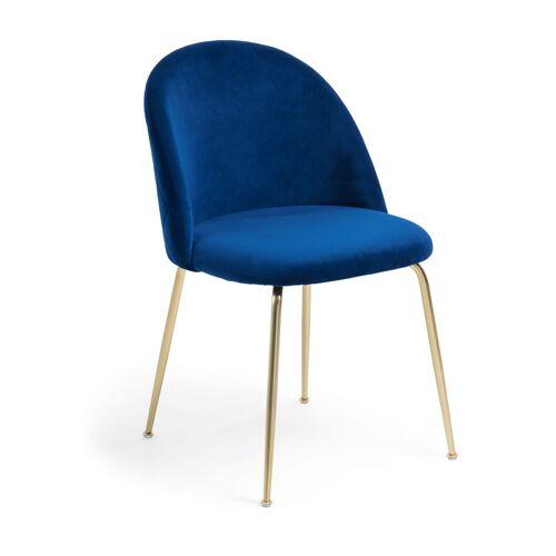 Kave Home - Ivonne Stuhl, blauer Samt