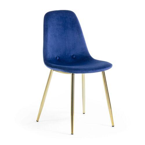 Kave Home - Yaren blauer Stoffstuhl