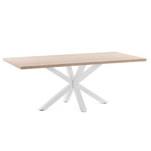 Kave Home - Argo Tisch 160 cm naturbelassenes Melamin, weisse Füße