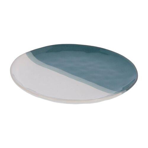 Kave Home - Nelba flacher Teller, weiss und blau