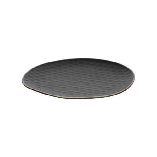 Kave Home - Manami Teller, flach, schwarze Keramik