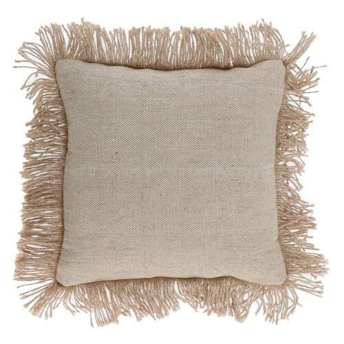 Kave Home - Delcie Kissenbezug aus Baumwolle in beige mit Jutefransen 45 x 45 cm