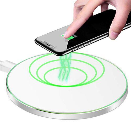 MMOBIEL Wireless Lade-Pad Ladegerät Aliminum 10W für iPhone / Samsung / Airpod (WEISS)   MMOBIEL
