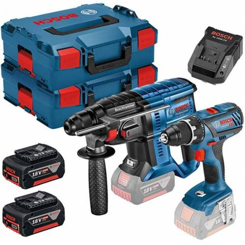 Bosch Blau GSR 18 V-28 Akku-Bohrmaschine + GBH 18 V-20 Akku-Bohrhammer 18V 4.0Ah Li-Ion 0615990K3Z