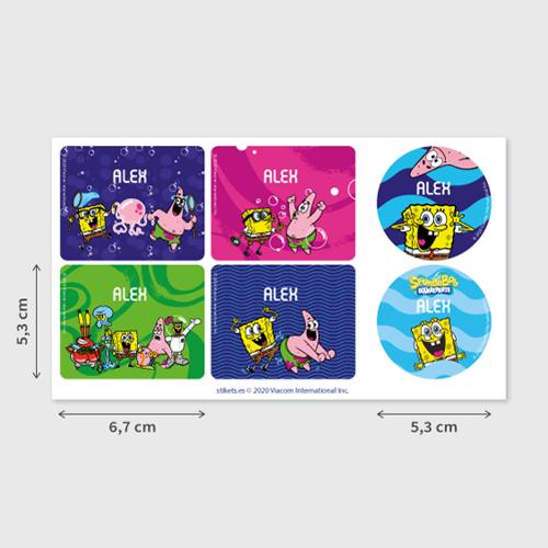 Stikets Etiketten für Flaschen und Brotdosen mit SpongeBob