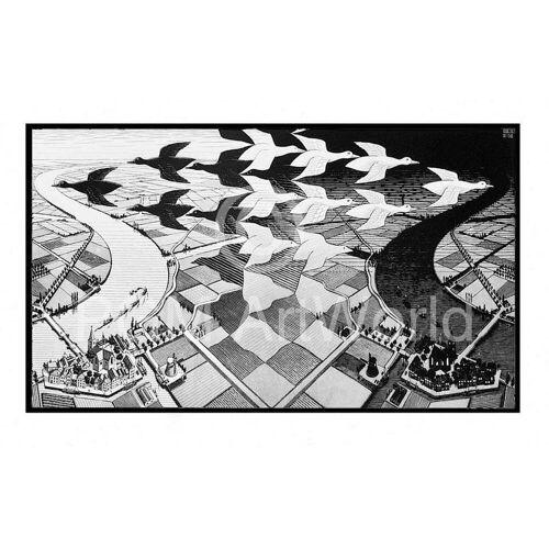 PGM M. C. Escher - Tag und Nacht Kunstdruck 86x55cm