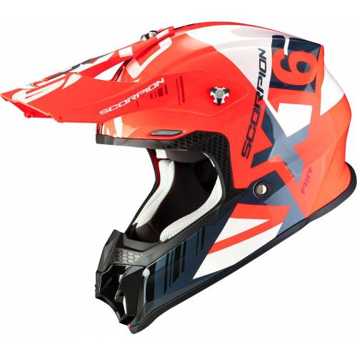 Scorpion VX-16 Air Mach Crosshelm   - Neon-Rot/Weiß - M