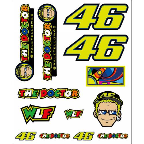 VR46 Racing Apparel Classic VR46 Sticker-set groß   - Gelb - one size