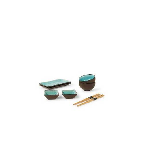Tokyo Design Studio Glassy Türkis Sushi Geschirr-Set 8-teilig