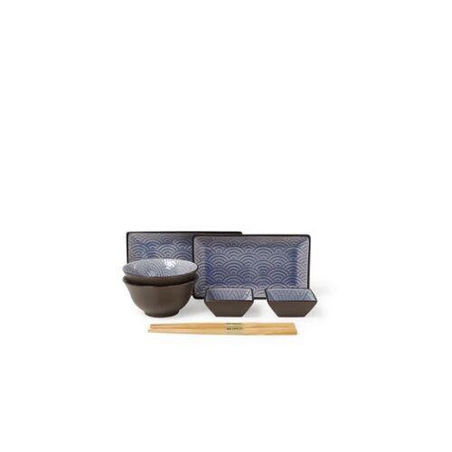 Tokyo Design Studio Glassy Blue Wave Design Sushi-Geschirr-Set 8-teilig