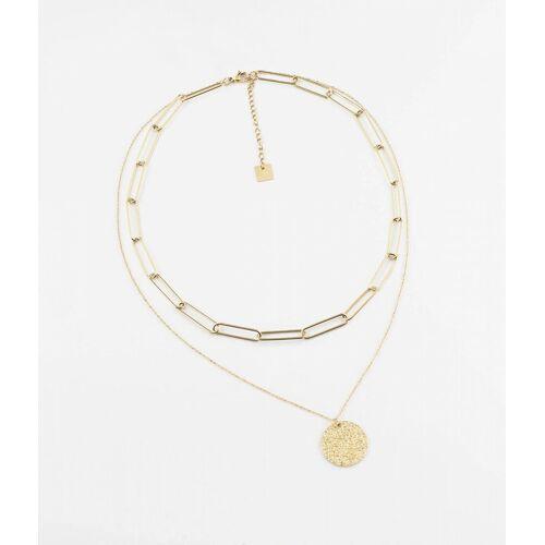 ZAG Bijoux Halskette doppelt Plättchen Gold