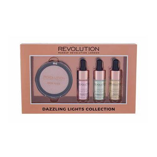 Makeup Revolution London Skin Kiss Farbton Champagne Set Pudriger Highlighter 6,5 g + flüssiger Highlighter 11 ml Dragon´s Blood + flüssiger Highlighter 11 ml Mermaid´s Scales + flüssiger Highlighter 11 ml P für Frauen