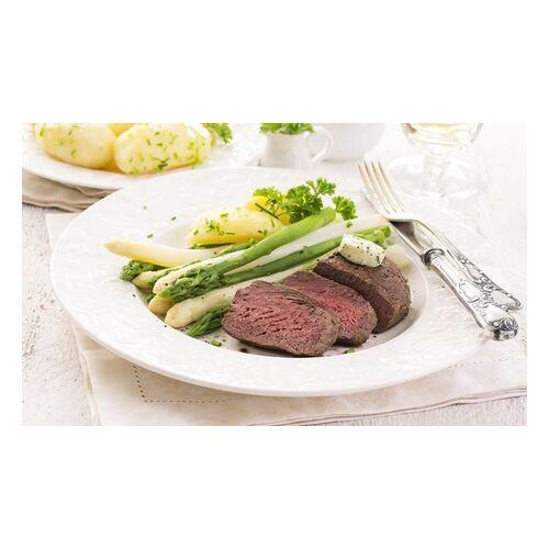 Fleischerei Löken Spargel mit Schweinemedaillons, Beilage und Sauce für bis zu 4 Pers. To Go bei Fleischerei Löken (36% sparen*)