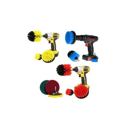 Groupon Goods Global GmbH 3er- oder 6er-Set Bürstenaufsätze für die Bohrmaschine zur Reinigung in Gelb, Blau oder Rot