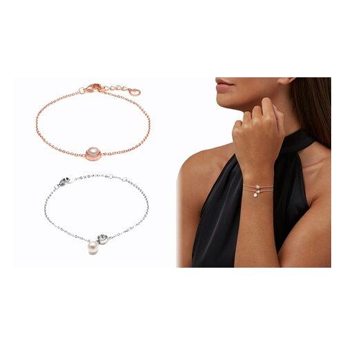 Groupon Goods Global GmbH OMG Jewel Damen-Armband mit Süßwasserperle in Roségold und/oder Süßwasserperle und Kristallen von Swarovski® in Weißgold