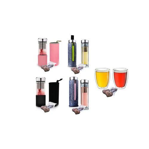 """Groupon Goods Global GmbH Creano 2er-Set Doppelwandgläser, Teebereiter """"Klassik"""" oder Thermo-Teebereiter inkl. 3 Tee-Herzen"""