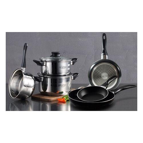 Groupon Goods Global GmbH San Ignacio 8-tlg. Kochgechirr-Set: 3 Pfannen, 3 Töpfe und 2 Glasdeckel