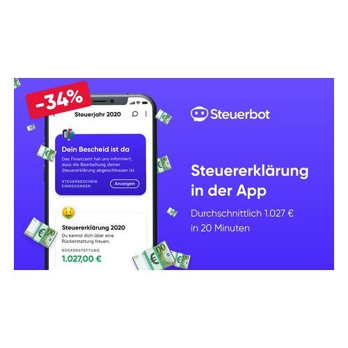 Steuerbot - Online Steuererklärung in 20 Min. Steuerbot – Steuererklärung in 20 Minuten per App mit durchschnittlich 1.027 € Rückerstattung (33% sparen*)