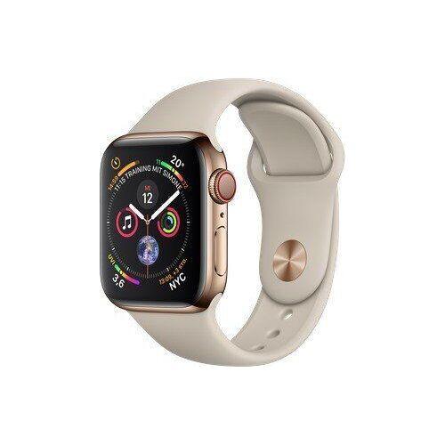 Apple Watch Series 4   40 mm   Edelstahl   GPS + Cellular   gold   Sportarmband beige
