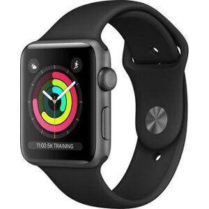 Apple Watch Series 3   42 mm   Aluminium   GPS   grau   Sportarmband schwarz