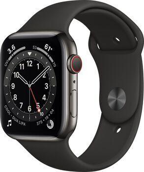 Apple Wie neu: Apple Watch Series 6 Edelstahl 44mm   graphit   Sportarmband schwarz