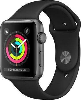 Apple Wie neu: Apple Watch Series 3   42 mm   Aluminium   GPS   grau   Sportarmband schwarz