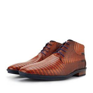 Floris Van Bommel Schnürstiefel Leder mit Print cognac, Business Schuhe, Lederstiefel, Handgefertigt