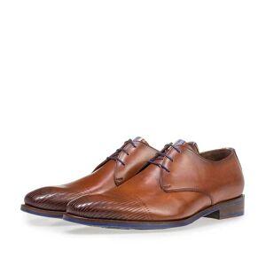 Floris Van Bommel Dunkler cognacfarbener Kalbsleder-Schnürschuh, Business Schuhe, Handgefertigt