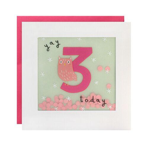 james ellis Geburtstagskarte SHAKIES 3 JAHRE – EULE in weiß/mint