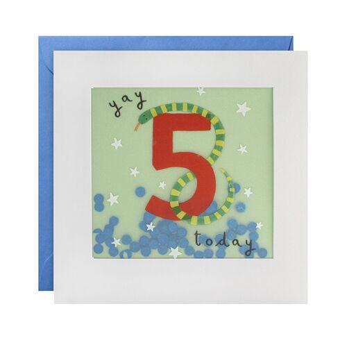 james ellis Geburtstagskarte SHAKIES 5 JAHRE – SCHLANGE in weiß/grün