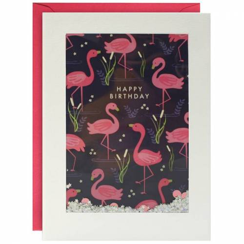 james ellis Geburtstagskarte SHAKIES – FLAMINGOS in weiß/bunt