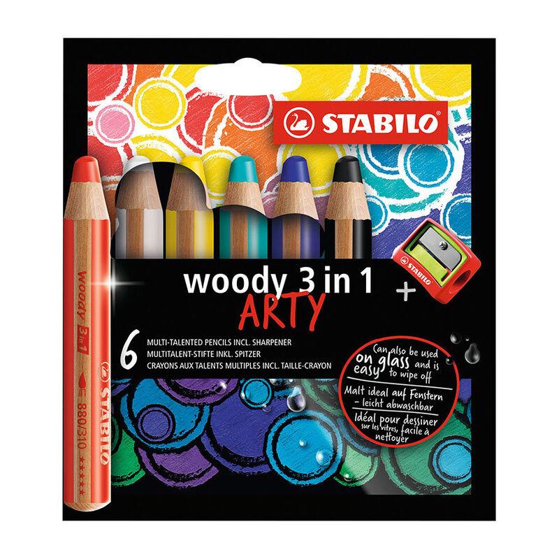 STABILO® Buntstift STABILO® WOODY ARTY 3in1 6er mit Spitzer