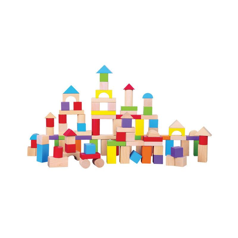 New Classic Toys Holz-Bausteine BURG 100-teilig in bunt