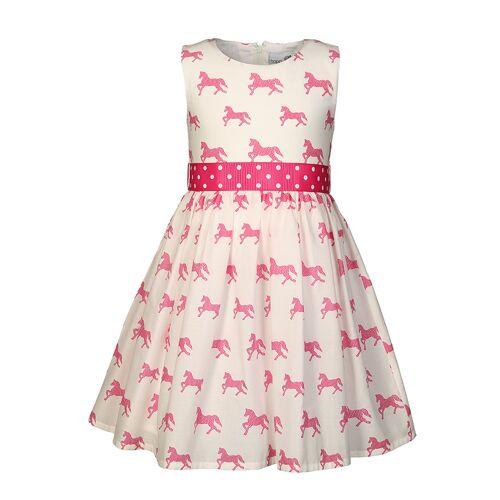 happy girls Kleid PFERDE mit Gürtel in wollweiß/pink