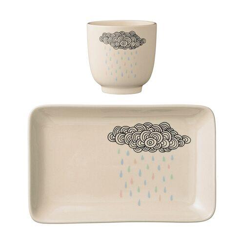 Bloomingville Geschirr-Set ADEL 2-teilig aus Steingut in weiß